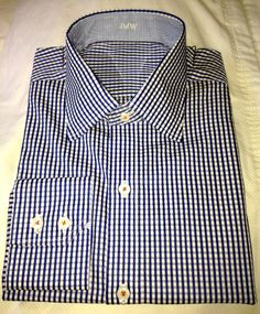 J. Hilburn Custom Shirt - White/Royal Twin Dobby Check with Contrast Stitching in Orange.