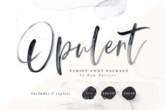Introducing; Opulent! A beautiful collection of hand-lettered modern calligraphy fonts. What makes Opulent so special is that it comes in 3 different forms; SVG, Brush & Solid - giving you a hugely versatile brush font which can be used in a range of different scenarios. #lettering #type #script #watercolor