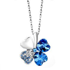 Necklace & Pendants - aquamarine blue swarovski crystal heart shaped four leaf clover pendant necklace Image. #Lucky #Jewelry #LuckyJewelry