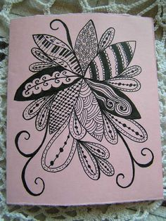 """Zentangle """"Mothers Day"""" card made for me by my daughter"""