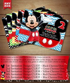 HUGE SELECTION Mickey Mouse Birthday Invitation, Clubhouse Mickey Invitation, Chevron Mickey Invitations, Mickey Photo Invitation