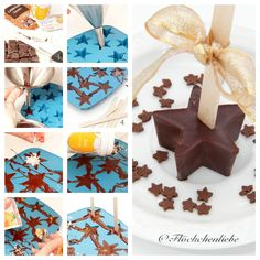 Weihnachtliche Trinkschokolade am Stiel, Trinkschokolade am Stiel, Milch, Lebkuchengewürz, Zimt, geriebene Orangenschale