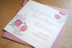 Pretty watercolor bridal shower invitations by Boutique Bridal Bazaar vendor Birdhaus Co.