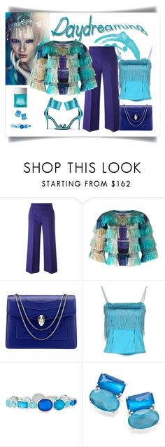 """Alberta Ferretti Degradé Fringed Cropped Jacket"" by romaboots-1 ❤ liked on Polyvore featuring MSGM, Alberta Ferretti, Bulgari, Richmond X, Ippolita and Michael Kors"