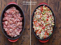 Pui Hawaii - bucatele de pui combinate cu orez, mazare, ceapa, usturoi, sos chilli si ananas, totul gatit la cuptor.
