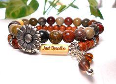 Yoga Bracelet Breathe Bracelet Boho Bracelet by BlueStoneRiver