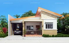 Simple house designs are easy to layout due to its simplicity and efficiency. Cecile is a one story simple house design with a total floor area of 100 sq. Modern Bungalow House Design, Simple House Design, Bungalow House Plans, Two Story House Design, House Plans One Story, Best House Plans, Philippines House Design, One Storey House, House Design Pictures