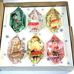 Box Jewel Brite Plastic Christmas Ornaments Spun Cotton Figures
