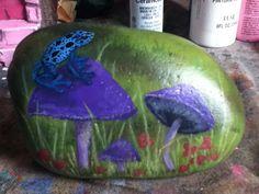Blue Dart Frog - painted rock