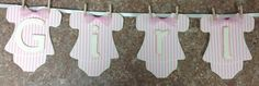 Baby Girl Onesie Banner Hung by by whimzypartycreations on Etsy