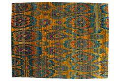 "8'x10'1"" Sari Silk Rug, Saffron/Blue on OneKingsLane.com"