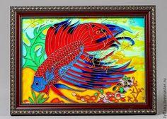Витражная картина Рыба-петушок от Issmile на Etsy