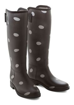 Splish Flash Boot in Pavement. Add a bit of timeless style to your day by wearing these polka-dotted rain boots! #gold #prom #modcloth