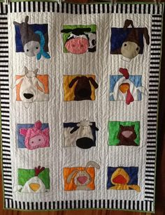 24 Blocks Barn Animals Baby Quilt