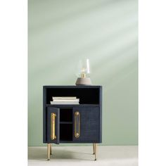 Tracey Boyd Odetta Nightstand ($798) ❤ liked on Polyvore featuring home, furniture, storage & shelves, nightstands, navy, navy blue furniture, tracey boyd, salvage furniture and navy furniture