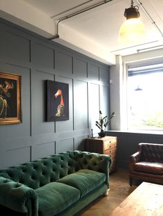 Here's a sneak peek inside another of our room sets - our emerald green velvet sofa looking great!