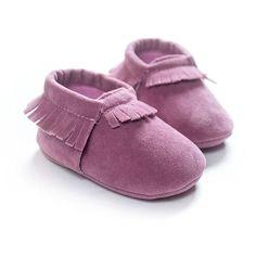 Baby Unisex Suede Soft Sole Fringe Moccasin Shoes (13 Color Options)
