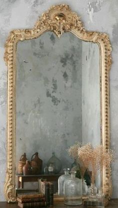Beautiful French Country Vignette with Grey Patina Walls! See more at thefrenchinspiredroom.com