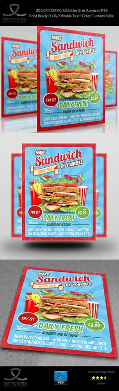Sandwich Restaurant Flyer Template