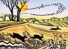 'Starlings and Hares' By Rob Barnes.  Blank Art Cards By Green Pebble. www.greenpebble.co.uk