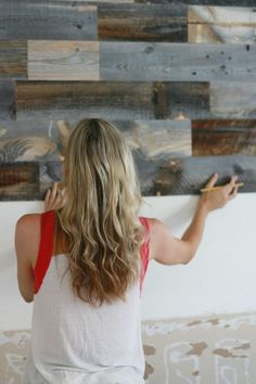 Stikwood - Reclaimed Weathered Wood with adhesive backing. Just cut to size, peel and stick to make a beautiful wood wall