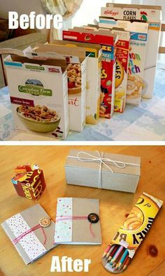 empty cereal boxes DIY... notebooks and pencil holder are perfect for trips