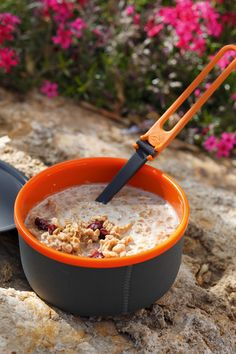 Backpacking requires food choices with sustenance. Breakfast Cereal Recipe for Hikers or Anyone: 2 c Granola, 1/3 c Instant Dry Milk Powder, 1/2 c Craisins, 1/4 c Brown Sugar. Pack all ingredients in a quart-size Ziploc freezer bag. When ready to prepare, add 1 cup cold water and shake. Eat out of bag with a spoon. Serves 1 to 2.