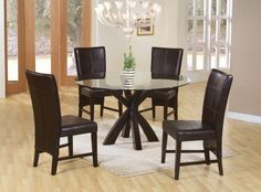 "5pc Contemporary Dining Set With 48"" Round Beveled Glass Top is Finished in Rich Cappuccino+Parson Chairs at $548 with Free Delivery in the Henderson/Las Vegas area - Half price furniture"