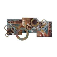 Deco 79 64310 Metal & Wood Wall Decor: 36 inch contemporary brown and turquoise multi geometric ring wall art montage, three square painted wooden panels behind painted floating iron rings Abstract Metal Wall Art, Metal Sculpture Wall Art, Metal Artwork, Wall Sculptures, Artwork Wall, Artwork Ideas, Metal Wall Decor, Wood Wall Art, Wall Art Decor