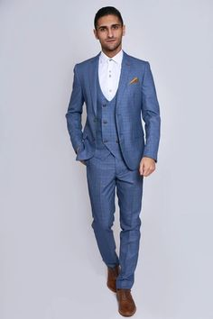 Click here to discover our collection of Men's 3 Piece Suits. Browse our vintage inspired designs in a variety of prints, colours & materials. Shop today! Mens 3 Piece Suits, Three Piece Suit, Mens Suits, Classic Blue Suit, Classic Blues, Double Breasted Waistcoat, Dapper Suits, Modern Suits, Men Formal