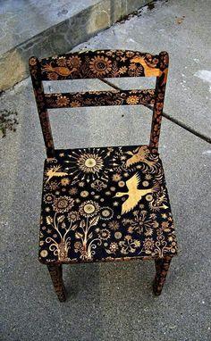 Cadeira pintada diy