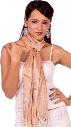 Exotic India Tan Banarasi Stole with Tanchoi Weave Exotic India. $30.00