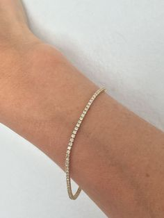 Diamond Tennis Bracelet Dainty Delicate Yellow Gold