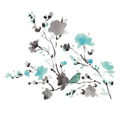 Room Mates Deco Blossom Watercolor Bird Branch Wall Decal & Reviews | Wayfair