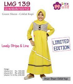 Baju Gamis Anak Little Mutif Girls LMG-139 Green Sheen