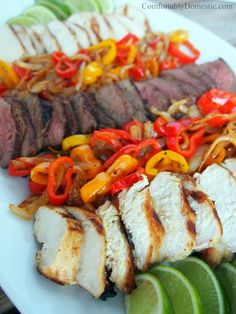 Grilled Chicken or Steak Fajitas | ComfortablyDomestic.com are simple, flavorful, and economical meal.