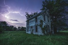 A Dark and Stormy Place by Aaron J. Groen on Old Farm Houses, Dark Places, Abandoned Buildings, Cool Photos, House Styles, Nature, Top, Photography, Outdoor