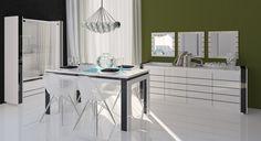Salle à manger design coloris blanc/noir brillant Tessa