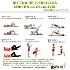 Rutina contra la celulitis Gym Workout Tips, Workout Challenge, At Home Workouts, Physical Fitness, Yoga Fitness, Fitness Tips, Fitness Studio Training, Gym Routine, Thigh Exercises