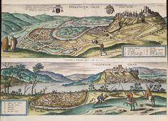 This 1595 map of Esztergom (Hungary) is one of the lovely pieces featured in the upcoming TD Gallery show The Art of Cartography , which runs from tomorrow until October 23rd in the Toronto Reference Library (789 Yonge St.). Drop by to see some truly stunning maps, charts and cartography.