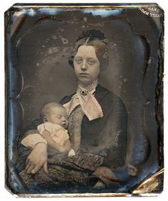 1850 - I find this image heartrending. The young mother in her Sunday best, carefully holding the body of her dead baby. You have to bear in mind that photography was not very advanced at this time – she would have been required to hold that pose without moving for quite some time.