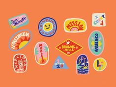 """Another illustration spot for a local mag on the 2020 census. I made these """"stickers"""" for some of the bigger cities that make up the Rio Grande Valley. that's deep, deep south texas. look it up. th... Printable Stickers, Cute Stickers, Branding Design, Logo Design, Design Packaging, Design Web, Print Design, Illustrations, Illustration Art"""