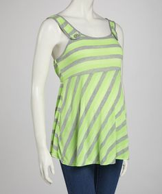 Take a look at this QT Maternity Lime & Gray Stripe Maternity Tank on zulily today!
