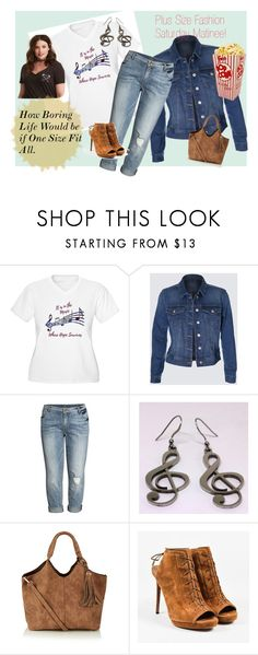 Plus Size Fashion Saturday Matinee by jroy1267 on Polyvore.  How boring life would be if one size fit all! Fashion is fun no matter what size you are! In this collection you will find cropped jeans, comfy t-shirt for music lovers, jean jacket, handbag, stainless steel treble clef earrings to match the t-shirt's theme, suede lace up shoe boots and a suede hobo bag.