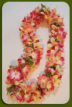 double plumeria flower lei in multiple colors