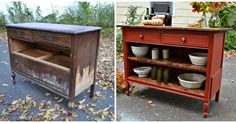 Upcycle an Old Dresser Into a Kitchen Island for Budget Beauty Kitchen islands look great, but if you buy pre-made, it's going to cost you. Here's how to turn an old dresser into your new kitchen island furniture! Refurbished Furniture, Repurposed Furniture, Rustic Furniture, Furniture Makeover, Painted Furniture, Diy Furniture, Antique Furniture, Furniture Outlet, Furniture Stores
