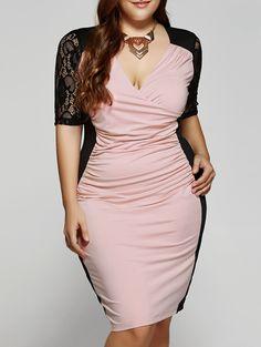 Plus Size 1/2 Sleeves V-Neck Splice Lace Dress