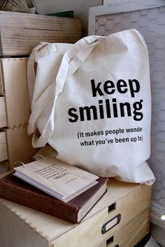 Cotton tote bag  Quote Tote  Keep smiling by quotesandnotes on Etsy