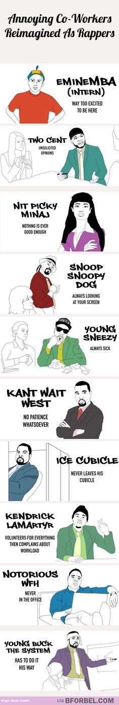 Annoying co-workers reimagined as rappers