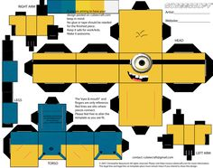 """Hello again!!!! This is my paper craft, it's a minion from """"despicable me"""". For this assignment we had to chose a character and use either Photoshop or illestrator, and i did mine on ph…"""